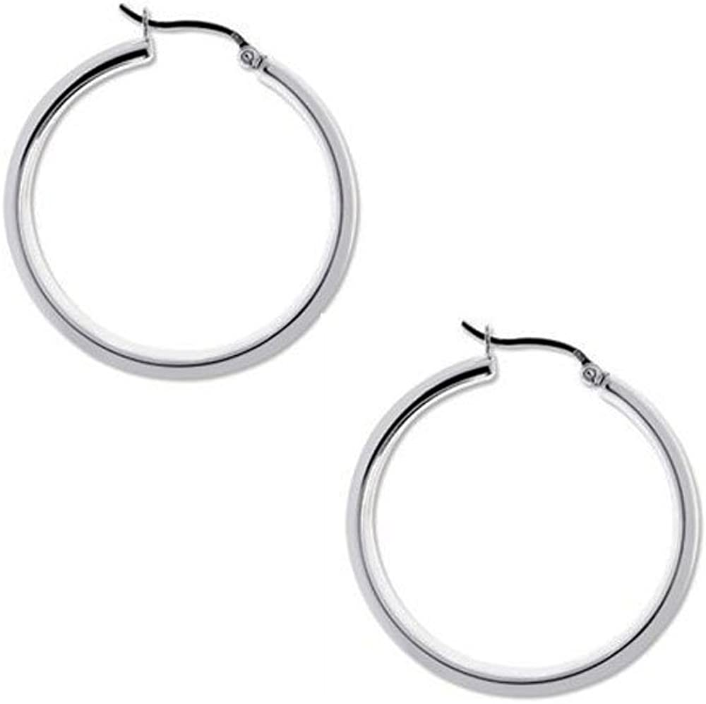 925 Sterling Silver Beaded Tube 25mm Round Beads Design Creole Hoops Earrings