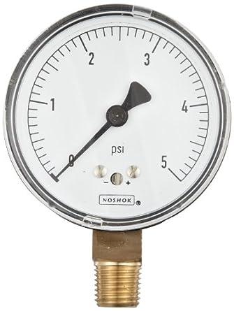 "NOSHOK 200 Series Steel Dry Dial Indicating Low Pressure Diaphragm Gauge with Back Mount, 2-1/2"" Dial, +/-1.5% Accuracy, 0-100 oz/in² Pressure Range"