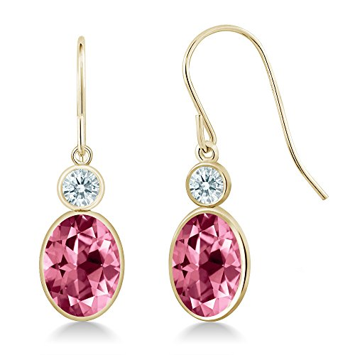 14K Yellow Gold Earrings Set with Oval Pink Topaz from Swarovski (Gold Pink Topaz Earrings)