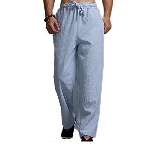 Oshlen Men's Linen Plus Size Pants Elastic Waist Drawstring Casual Loose Breathable Straight Leg Long Trousers (Light Blue, - Orlando In Prime Outlet