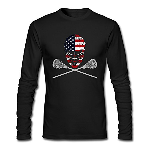 Man Lacrosse Helmet Crossed Sticks Cotton Comfort Long Sleeve T-Shirts Crew-Neck – DiZiSports Store