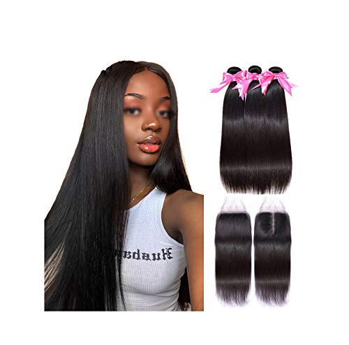 (Straight Hair Bundles With Closure Little cute shop HAIR Virgin Human Hair Bundles With Closure Brazilian Hair Weave Bundles With Closure,20 & 22 & 24 & Closure 18,Natural Color,Middle)