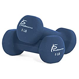 Prosource Fit Set of 2 Neoprene Dumbbell Coated for Non-Slip Grip, 1 lb-12 lb