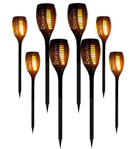 8 Packs LED Solar Outdoor Dancing Flickering Flames Torch Light Landscape Decoration Path Patio Driveway Garden Yard Waterproof Tiki Lantern Lamp]()