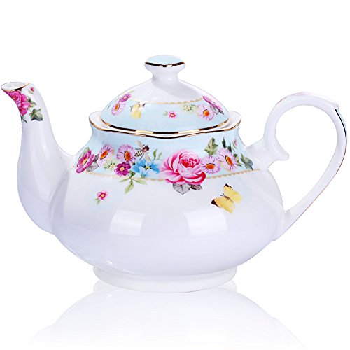 Teapot Bone China Porcelain Tea Pot Vintage Royal Style Red Floral -4 Cup (Blue)