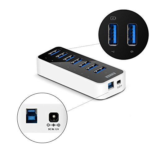Anker USB 3.0 7-Port Hub with 1 BC 1.2 Charging Port up to 5V 1.5A, 12V 3A Power Adapter Included
