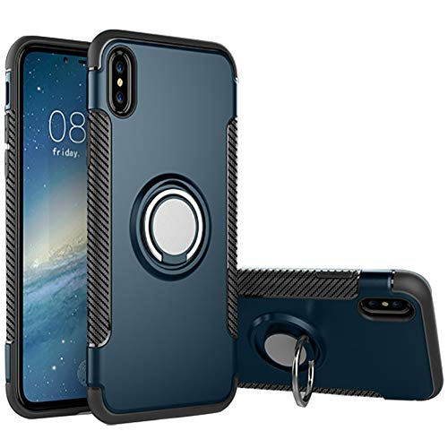 Hayder iPhone Xs Max Case, Car Magnetic Kickstand 360 Degree Ring Holder Protection Cover (Cyan-Blue)