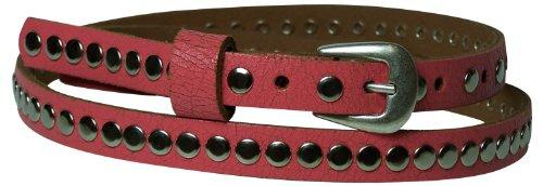 """Fronhofer Guertelmanufaktur Women's Genuine Leather Rivet Skinny Belt .78"""" Wide 31.5"""" (M. EU80) Coral"""