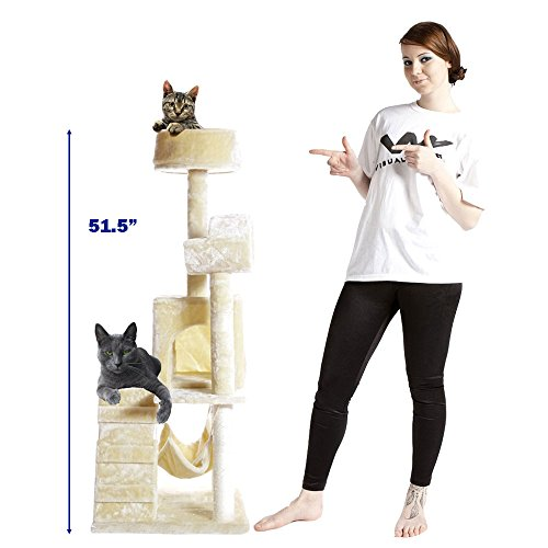 PET PALACE 51″ Cat Kitty Tree Scratcher Play House Condo Furniture Toy Bed Post House APL1064, Beige, Medium