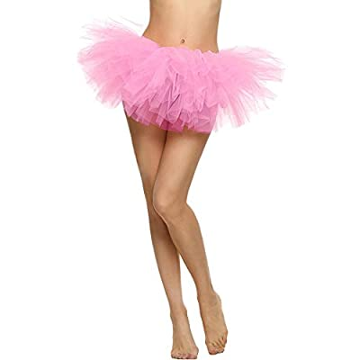 TWGONE Tulle Skirt For Women Pretty Girl Elastic Stretchy Tutu Adult 5 Layers Skirt(One Size,Pink)