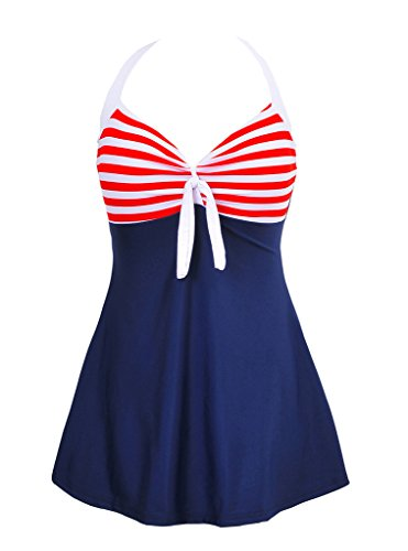 Morryoddy Women's Tankini Swimsuit One Piece Skirtini Cover Up NavyBlueRed XXX-Large(US 18)