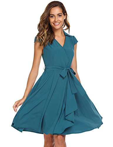 ANGVNS Women's Wrap Cap Sleeve V-Neck Swing Dresses With Belt (Sleeve Button Front Dress)