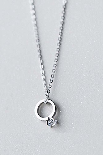 s925 Sterling Silver Necklace Pendant Women Girls Personality Unique Mini Diamond Ring Diamond Gift Woman Clavicle Chain Gift