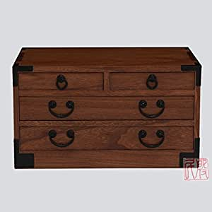 Japanese tansu style jewelry box kb27t 4 for Solid wood jewelry chest