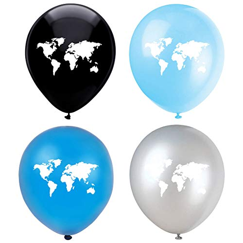 Globe Earth Planet Latex Balloons, 16-Pack 12inch World Map Blue Birthday Party Balloons, Decorations, Supplies