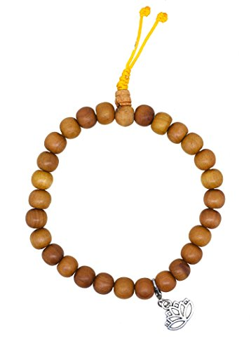 Tibetan Bohemian Sandalwood Scented Stretch Anklet Bracelet with a Removable Charm (Lotus)