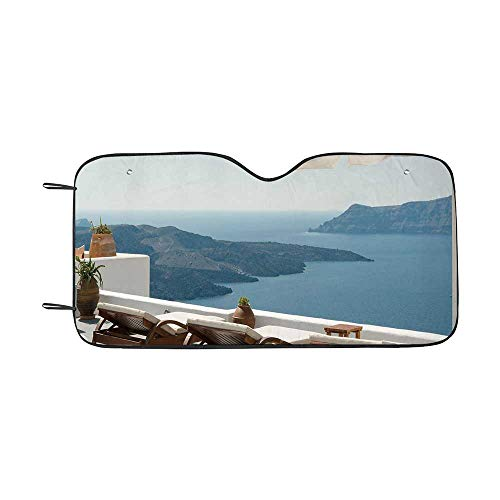 Travel Decor Durable Car Sunshade,Sunbathing with Caldera View Terrace Santorini Aegean Greece Print for car,55