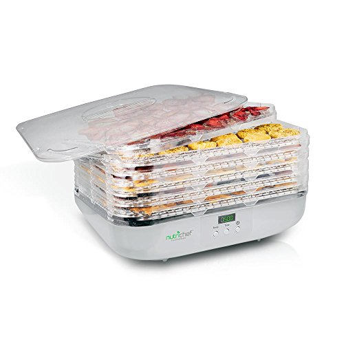 NutriChef Food Dehydrator Machine – Professional Electric Multi-Tier Food Preserver, Meat or Beef Jerky Maker, Fruit & Vegetable Dryer with 6 Stackable Trays, High-Heat Circulation – (PKFD16)