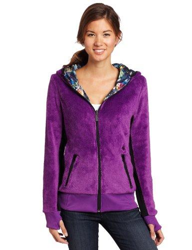 Volcom Juniors Tilia Reversible Fur Full Zip Hoodie, Mystic, Small