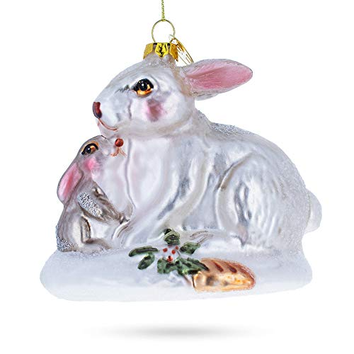 BestPysanky Mother and Baby Rabbit Blown Glass Christmas Ornament