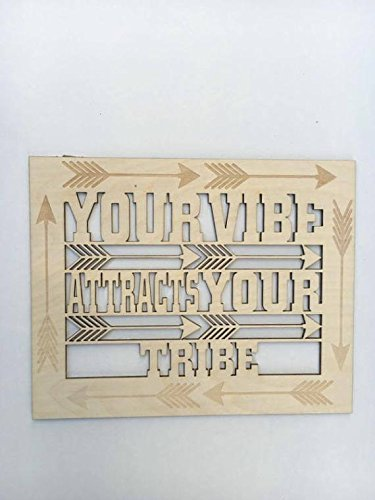 Personalized Stylish Motivational Sign, Good Vibes sign, Positive Vibes sign, Laser Cut Outs, Your tribe sign, Inspirational sign, Yoga sign, Boho Quote.
