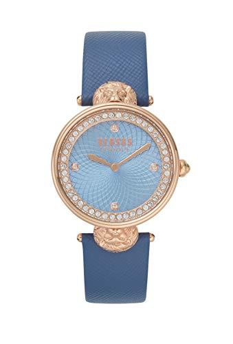 Versus by Versace Women's Victoria Harbour Rose Gold Quartz Watch with Leather Calfskin Strap, Blue, 20 (Model: VSP331618)