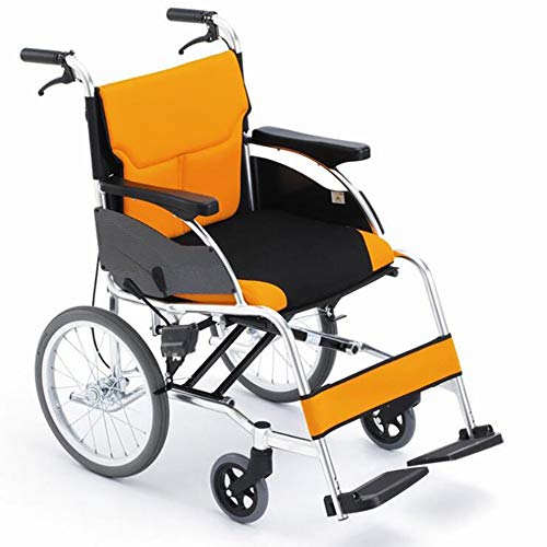 GAOJIN Transport Wheelchair Foldable,Lightweight Mobility Device Aluminum Frame Detachable Cushion,Pneumatic Tire Solid Rotatable Front Wheel Suitable for The Elderly Disabled People