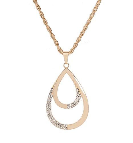 Women's Long Necklace Teardrop Pendant Necklace Gold Necklace (Long Drop Pendant)