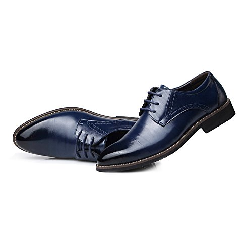 Low Cuero Zapatos Los Business Lace Oxfords Up Top Clásico Azul Formal Mocasines Hombres Pu De Slipper La Fashion Lined Mxl EPwdqpE