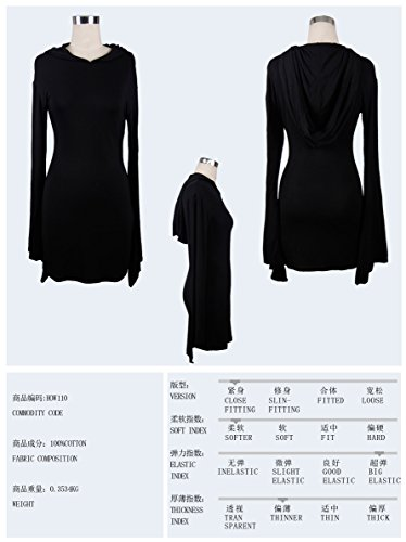Longues Femme Manches Robe Devil Fashion Noir wqxOCg