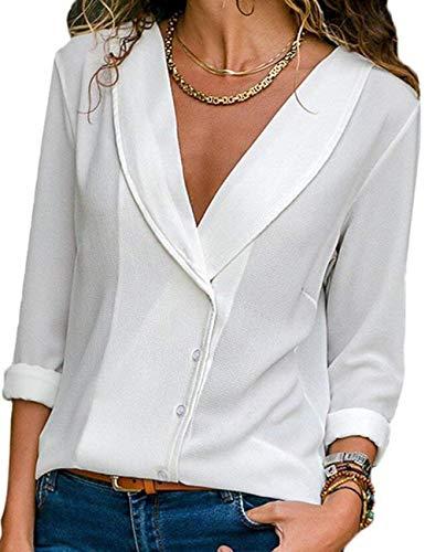 Col Blanc Longue Mousseline V Classique Chemise Manche Tunique Hauts Soie Shirts lgant Casual Chic de Blouse Bouton Chemisier T Femme Tops Tee YIwE1qxwp