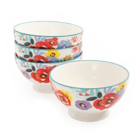 The Pioneer Woman Flea Market Floral 4-Piece Ceramic 6-Inch Footed Bowl Set, Dishwasher/Microwave Safe