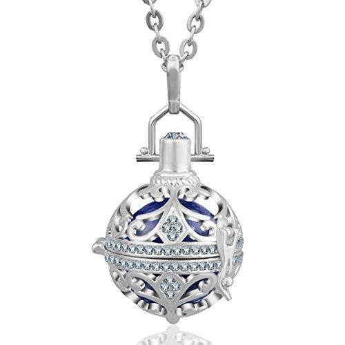 AEONSLOVE Vintage Cubic Zirconia Harmony Ball Locket Angel Chime Caller Necklace Pendant for Women, 30