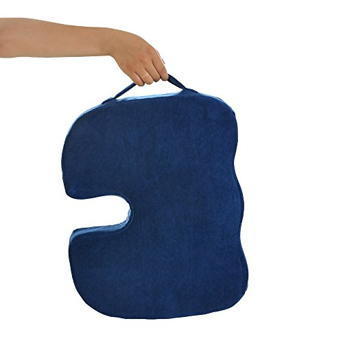Dr. Ergo - Orthopedic Coccyx Memory Foam Seat Cushion for Sciatica Pain Relief, Back Support, Ergonomic Chair Accessories, Car, Stadium, Wheelchair, Truck Drivers, Sacral Wedge Donut Pillow -Navy Blue