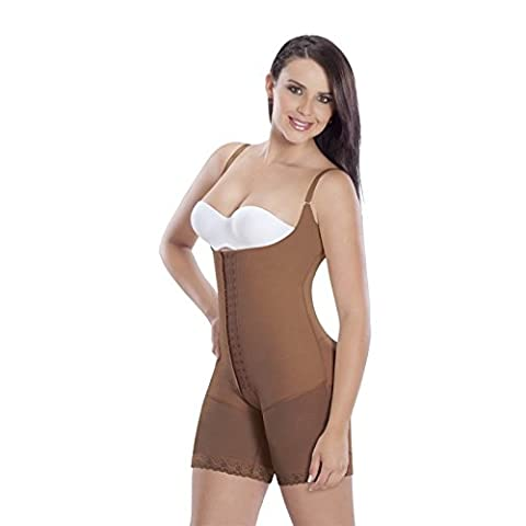 Faja Colombianas Post Surgical post Partum mocha with hooks med-leg S (Post Tummy Tuck)
