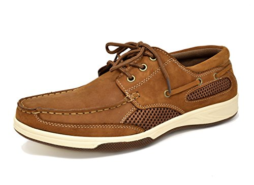 BRUNO MARC PITTS Men's Genuine Leather Classy Fashion Icon Three-Eye Casual Loafers Boat shoes TAN SIZE (Tan Casual Loafers)
