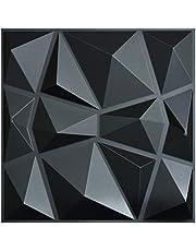 Art3d Structuren 3D Muurpanelen Wit Zwart Ruitontwerp Pak van 12 Tegels 32 Sq Ft (pvc)