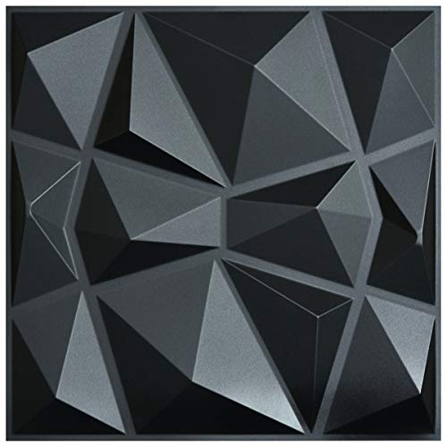 Art3d 3D Paneling Textured 3D Wall Design, Black Diamond, 19.7