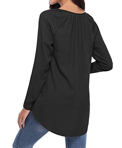 Noir Longues Casual Yidarton Classique Longue Femme Chic Blouse Chemise Fluide Manches Top TT4PqxC