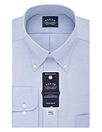 Eagle Mens Non Iron Stretch Collar Regular Fit Solid Buttondown Collar Dress Shirt