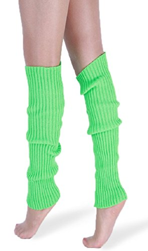 *daisysboutique* Retro Unisex Adult Junior Ribbed Knitted Leg Warmers (One Size, SanteGreen) -