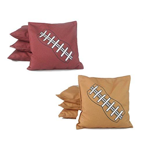 SPORT BEATS Water Proof Cornhole Bags Standard Bean Bags Toss Set of 8 for Tailgating 6 x 6 16OZ (Football)