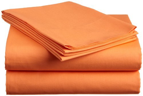 (Super Soft 200-Thread-Count Egyptian Cotton Bed Sheet Set 15 Inch Extra Deep Pocket Twin Extra Long Bed Size, Orange Solid 200TC 100% Cotton Sheet Set)