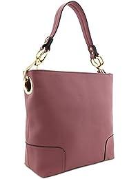 Large Hobo Shoulder Bag with Big Snap Hook Hardware