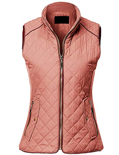 (MAYSIX APPAREL Sleeveless Lightweight Zip Up Quilted Padding Vest Jacket for Women SOFTPINK)