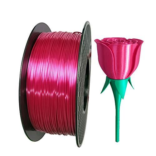 Silk Rose Red PLA Filament 1.75mm 3D Printing Filament 1KG 2.2LBS Spool 3D Printer Material CC3D Shine Silky Shiny Metallic Metal Gold Silver Copper PLA Filament Silk Rosy Red