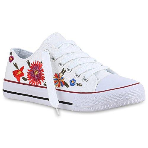 Herren Low Übergrößen Flower Weiss Damen Stiefelparadies Unisex Sneaker Flandell HqEppI