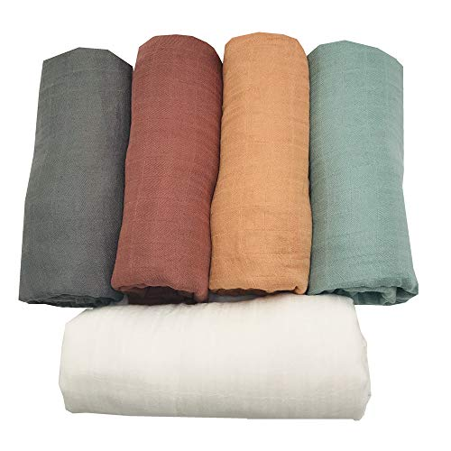"""5 pcs Ultra Soft Muslin Swaddle Blankets Premium Receiving Blanket for Boys & Girls 47"""" x 47"""" Solid Color from HGHG (New Surprise)"""