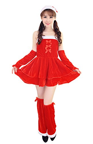 [YeeATZ Red Bowknot Sexy Maid Christmas Cosplay Costume] (Authentic Stormtrooper Costume For Sale)