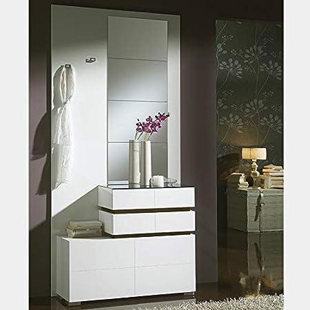 Mueble zapatero blanco color roble Valencia 2: Amazon.es: Hogar